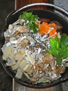 地の野菜とたくさんのきのこ類