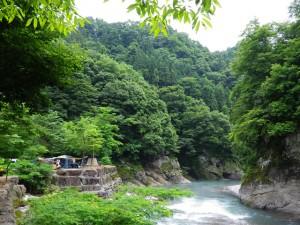 川沿いの自然に囲まれたキャンプサイト