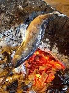 釣り立て新鮮なヤマメを囲炉裏焼き